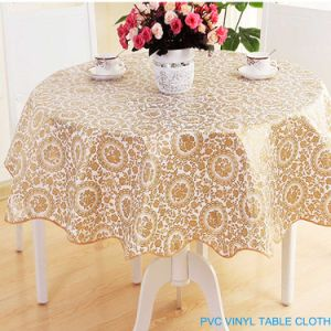 2016 Fashion New Style 100%Polyester Round Jacquard Durable PVC Eco-Friendly Printed Tablecloth pictures & photos