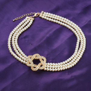 China Wholesale Gold Mesh Pearl Bead Crystal Big Alloy Necklace pictures & photos