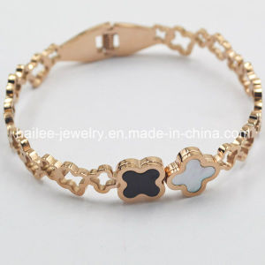 Flower Stainless Steel Plated Rose Gold Bangle pictures & photos