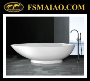 Stone Resin Freestanding Bathtub of Glossy White & Modern Design (BS-8606) pictures & photos
