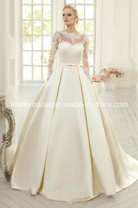 3/4 Lace Sleeves Bridal Gown Satin Pocket Wedding Dress W15210 pictures & photos