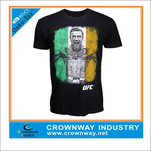 Custom Men Black Round Neck T-Shirt with Silk Screen Printing pictures & photos