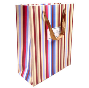 Fashion Striping Gift Bag with Golden Strings pictures & photos