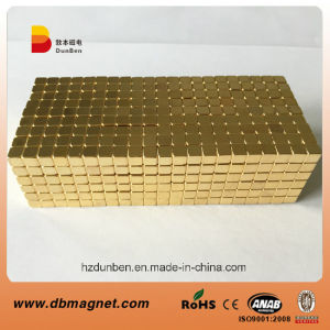 N35 5X5X5 Golden Neodymium Cube Magnet pictures & photos