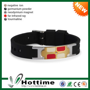 Stainless Steel Silicone Rubber Band Bracelet Wholesale (CP-JS-ND-004) pictures & photos