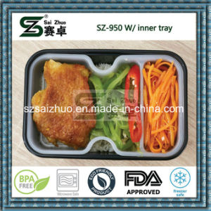 950ml Thicken Black/White Disposable Plastic Food Container with Inner Tray pictures & photos