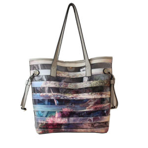 New Styles PU Lady Tote Handbags with Stripe Pattern pictures & photos