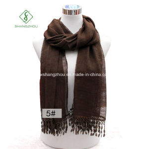 New Monochrome Bamboo with Lace Tassel Shawl Fashion Lady Scarf pictures & photos