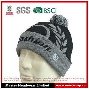 Acrylic Jacquard Beanie Knitted Top Ball with Cuff pictures & photos