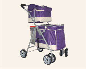 Double Layer 4-Wheels Pets Trolley Dog Outdoor Twins Strollers pictures & photos