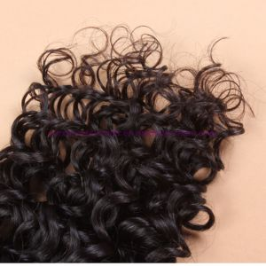 Malaysian Virgin Hair with Closure Beach Waves 4X4 Lace Closure with Bundles Deep Curly Water Wave Human Hair Weaving with Bundles pictures & photos
