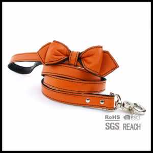 Brown Real Leather Soft Touch Dog Leash Leads Pet Supply with Bowtie pictures & photos