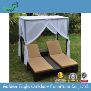 Garden Double Sunbed with Cushion and Canopy (L0071)