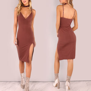 Fashion Women Sexy Slim V-Neck Backless Bodycon Slip Dress pictures & photos