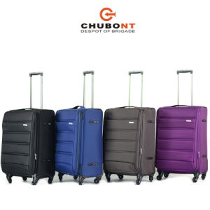 Chubont Brown Color Tsa Lock and Double Zipper Suitcase pictures & photos