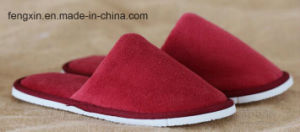 Comfortable 100% Cotton Velour Hotel Slippers for Adult pictures & photos