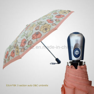 Fashion Printed Fabric 3 Folding Automatic Open&Close Rain/Sun Umbrella (JF-AQT303) pictures & photos