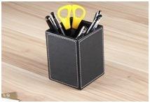 Classic Black Leather Art Pen Holder, Creative Multifunctional Office Pen Holder