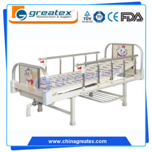 Pink Children Bed 2 Functions Manual Bed with 10-Crank Al-Alloy Handrails (BM502) pictures & photos