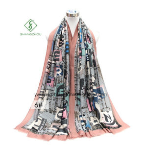 Fashion Letters Printing Thick Satin Lady Scarf Shawl Factory pictures & photos