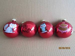 Red Painting Glass Ball with Animal Decal Picture for Christmas pictures & photos