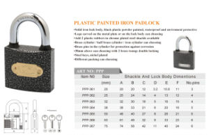 Cheap Price Hotel Lock Good Quality Plastic Painted Iron Padlock pictures & photos