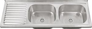 12050 Stainless Steel Double Bowl with Plate Kitchen Sink pictures & photos