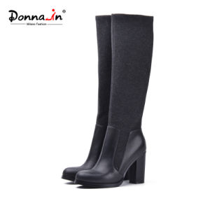 Lady Casual Leather Shoes Elastic Plush High Heels Women Boots