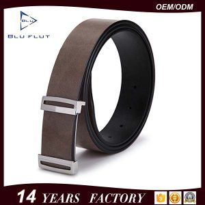 Golden Plated Metal Buckle Genuine Leather Men Belts pictures & photos