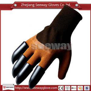 Seeway 2017 Hot Product Latex Coated Digging Rubber Garden Gloves with Four Claws
