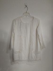 White Shirt, Lace, Polyester, Women′s Clothing pictures & photos