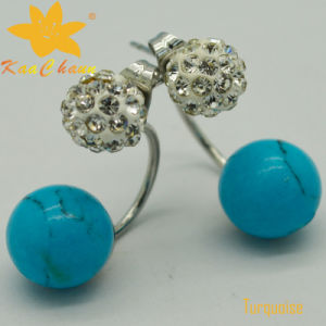 Smer-007 Classical Blue Color Turquoise Diamond Wedding Earrings