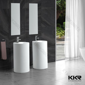 Stone Bathroom Freestanding Pedestal Wash Basins pictures & photos