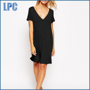 Sexy Fashion Deep V-Neckline Swing Dress with Front Button pictures & photos