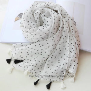 Classcial fashion Dots Printing Thin Cotton Scarf (HWBC001) pictures & photos