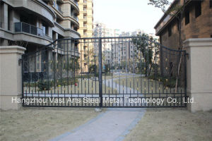 Haohan High-Quality Exterior Security Decorative Wrought Iron Fence Gate 3 pictures & photos