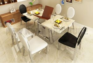 Simple Stainless Steel Base Folding Extendable Marble Dining Table (NK-DTB086)