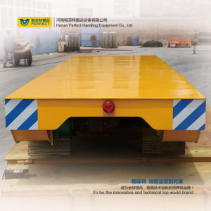 Yellow Color Railway Flat Cart with Steel Crane Wheels pictures & photos