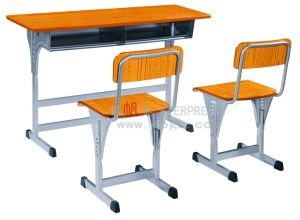 Adjustable School Double Desks And Chairs, Height Adjustable Students Desk  Chair