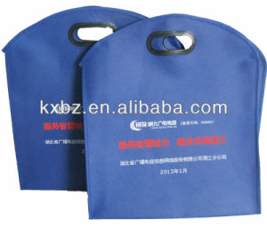Blue Die Cut Loop Handle Non Woven Advertising Bag for Promotion