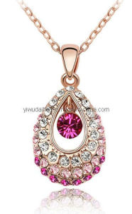 Pink and Red Crystal Drop Pendant Necklace (1105025)