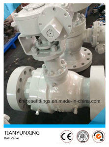 Worm Gear Box Casting Carbon Steel Flanged Fixed Ball Valve pictures & photos