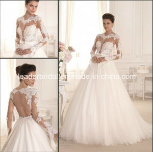 Bridal Gowns Tulle Lace Long Sleeves Vestido Wedding Dress W1904 pictures & photos