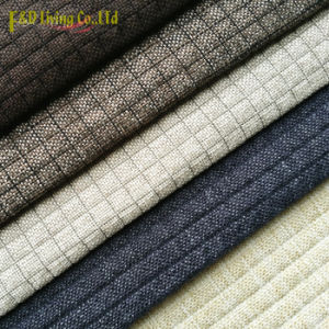 Contemporary Small Check Dobby Woven Upholstery Fabric