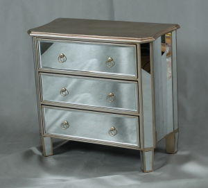 Accent Mirrored Sidetable Home Furniture in Champagne Finish pictures & photos