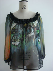 Ladies Positional Printed Blouse (VMD200906264)