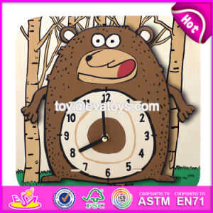 New Design Children Cartoon Wooden Alarm Clock Puzzle for Sale W14k013 pictures & photos
