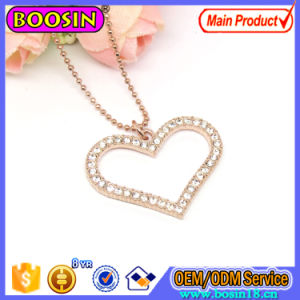 Fashion Crystal Pink Gold Heart Pendant Necklace Jewelry pictures & photos