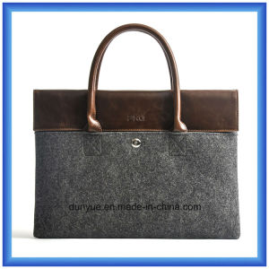 "Hot Promotional 13"" Customized Wool Felt Laptop Briefcase Bag / Laptop Hand Bag with Comfortable PU Leather Handle (wool content is 70%) pictures & photos"