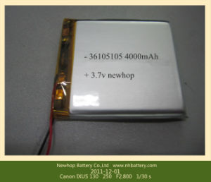 Lithium-Ion Polymer Rechargeable Flat Type Battery 3, 7V and 4000mAh